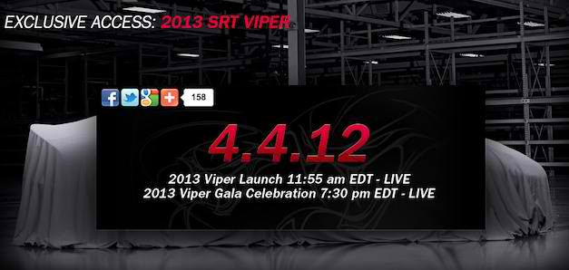 Watch the 2013 SRT Viper live online debut